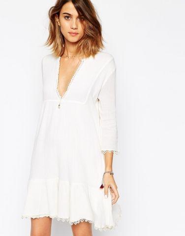 robe blanche courte bord e de dentelle aretha ba sh. Black Bedroom Furniture Sets. Home Design Ideas