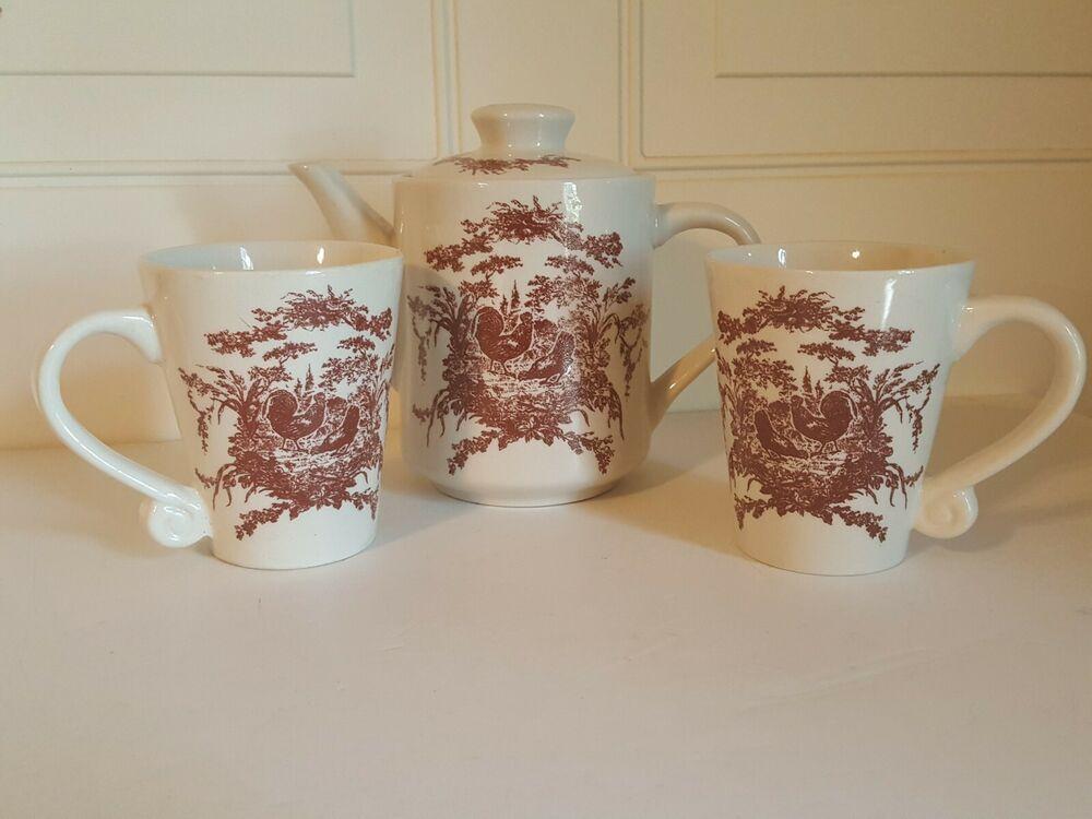 California Pantry Classic Ceramics 4pc Red Rooster Teaset Coffee Mugs Tea Set Mugs Ceramic Teapot Set