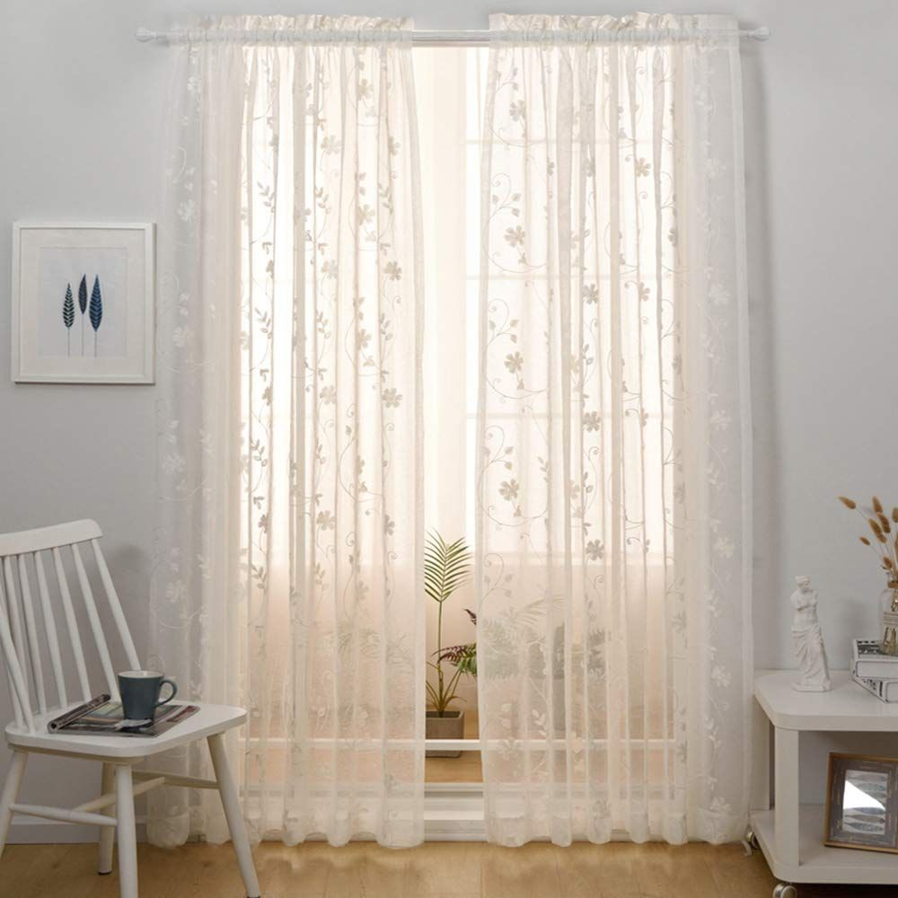 Floral Embroidery Sheer Curtains White 45 Inch Length Rod Pocket