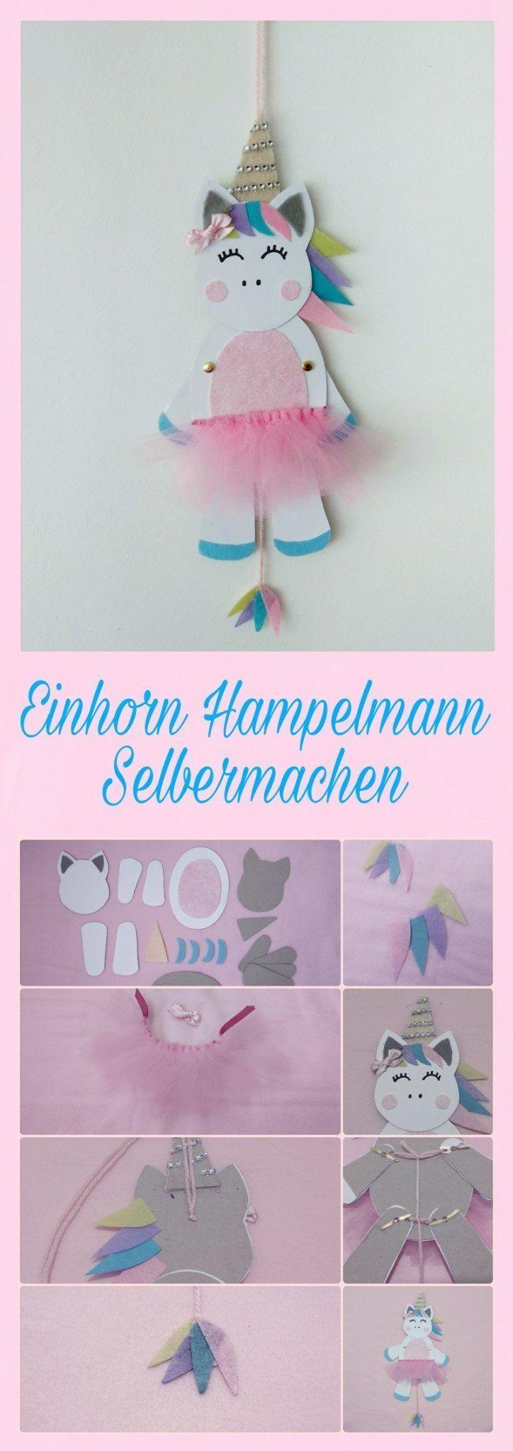 Einhorn Hampelmann selber basteln mit DIY Schritt für Schritt Anleitung und Freebie. #einfachebastelarbeitenfürkinder