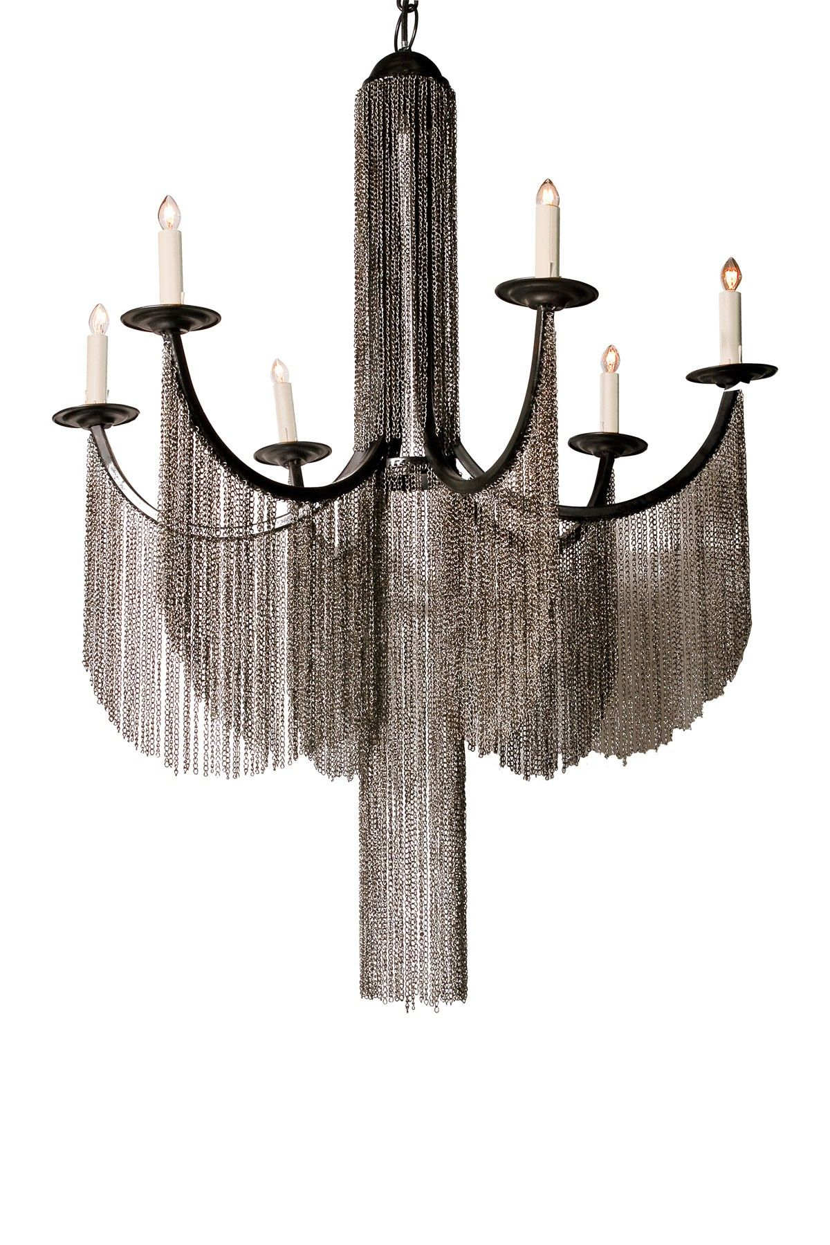 Draped chain link chandelier light me up pinterest chandeliers draped chain link chandelier audiocablefo