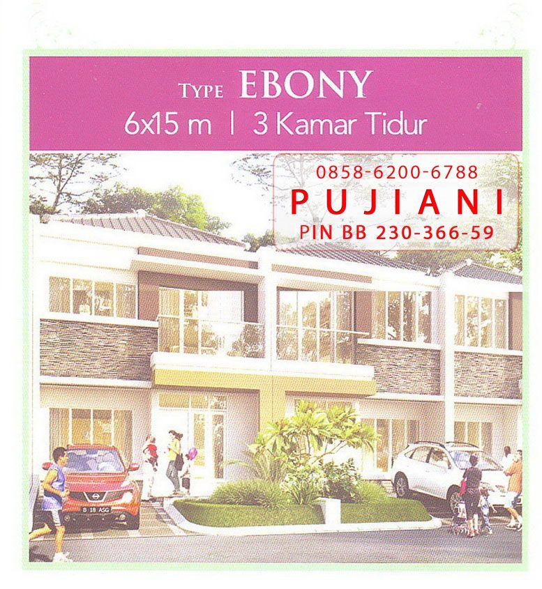 Foto sampel gambar ilustrasi tipe rumah Ebony di Cluster Tropical Garden dengan 2 lantai, 3 kamar tidur dan ukuran luas bangunan panjang kali lebar 15 x 6 meter
