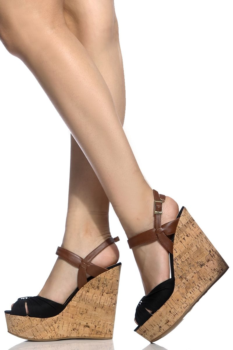 ee806d650 Black Two Tone Faux Leather Cork Wedges @ Cicihot Wedges Shoes Store:Wedge  Shoes,Wedge Boots,Wedge Heels,Wedge Sandals,Dress Shoes,Summer Shoes,Spring  Shoes ...