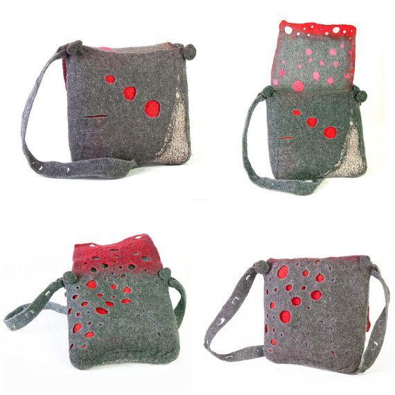 Ooak high quality felt bag in red gray dot design by ArianeMariane