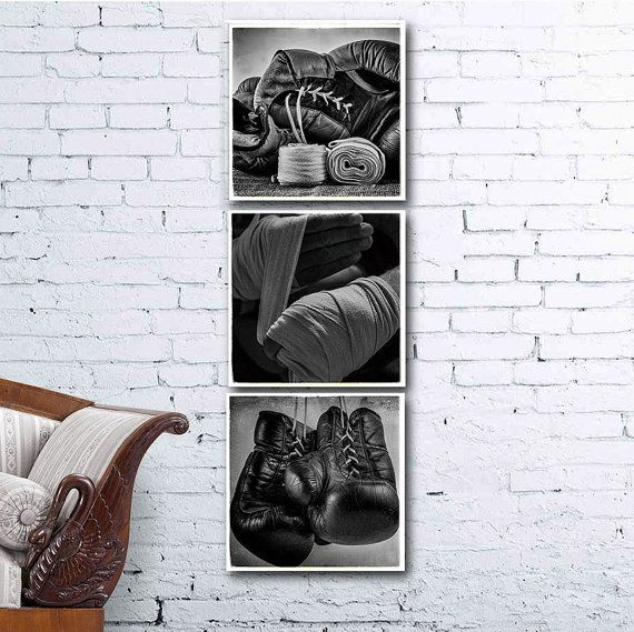 Boxing photos set of 3 black and white boxing poster home wall decoration