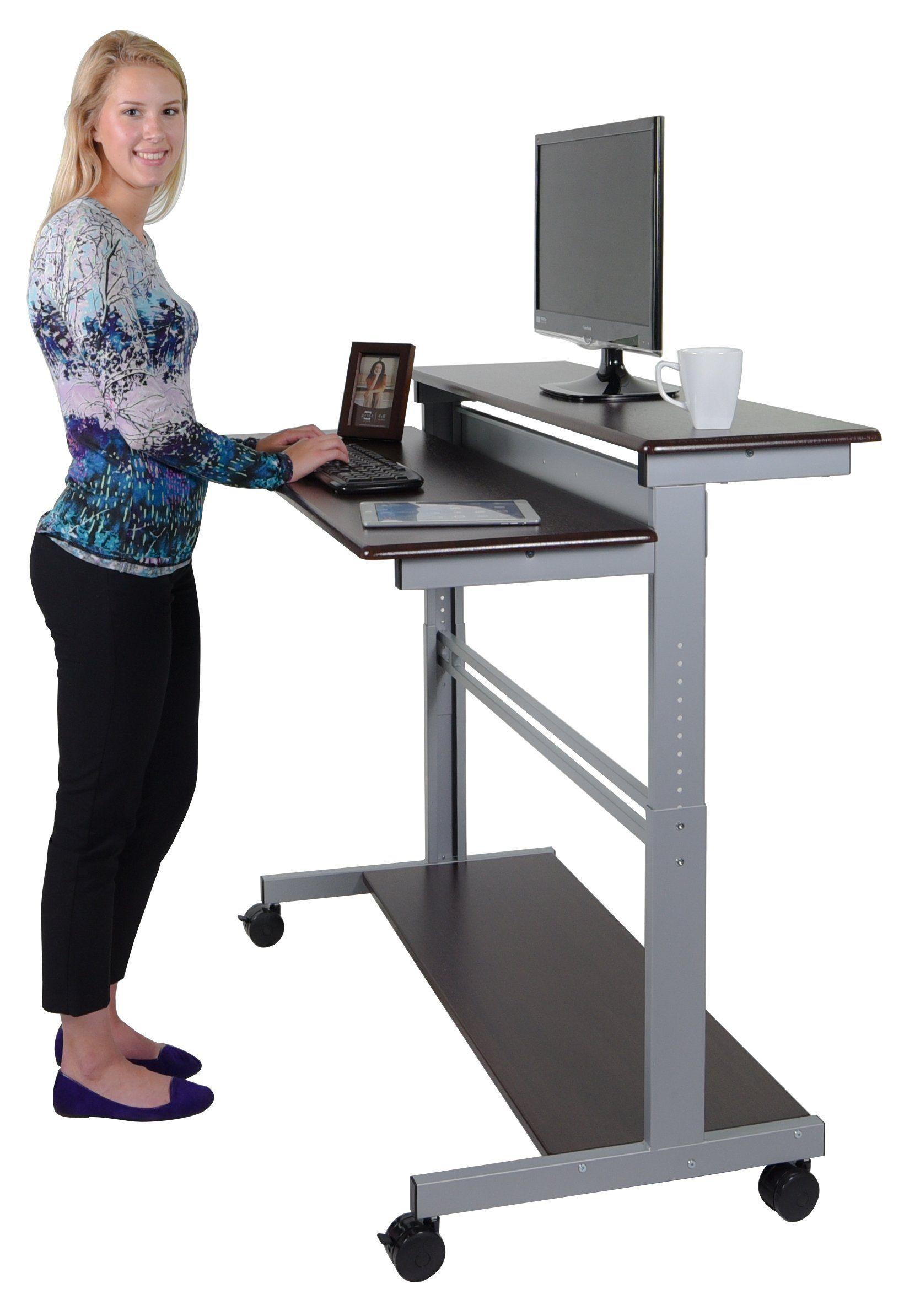 """48"""" Shelves Mobile Ergonomic Stand Up Desk puter Workstation"""
