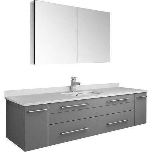 Fresca 60 Inch Lucera Single Sink Floating Vanity With Top