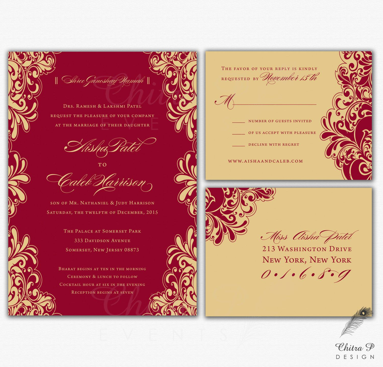 Red & Gold Wedding Invitations RSVP Printed Indian от