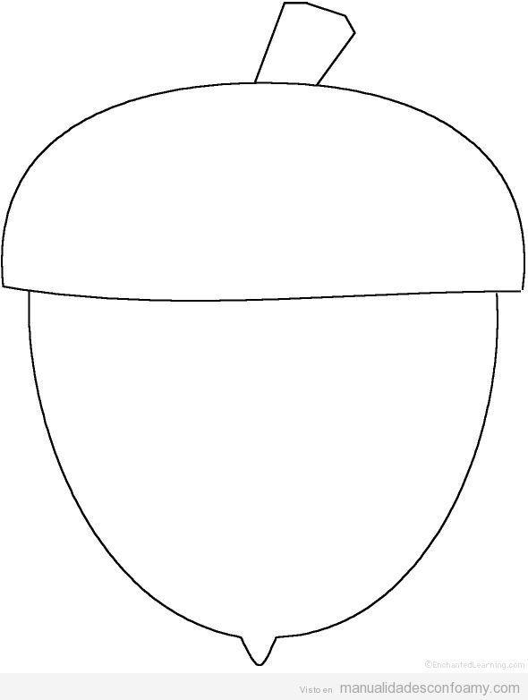 Dibujo plantilla bellota para manualidades | Manualidades ...