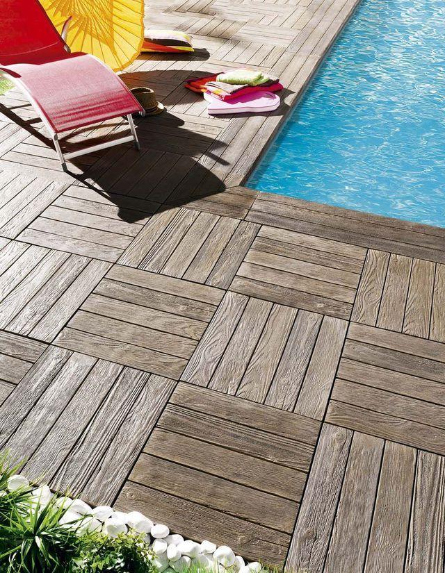 Revêtement terrasse, revêtement de sol extérieur en bois, en pierre, - plaque de beton pour sol exterieur