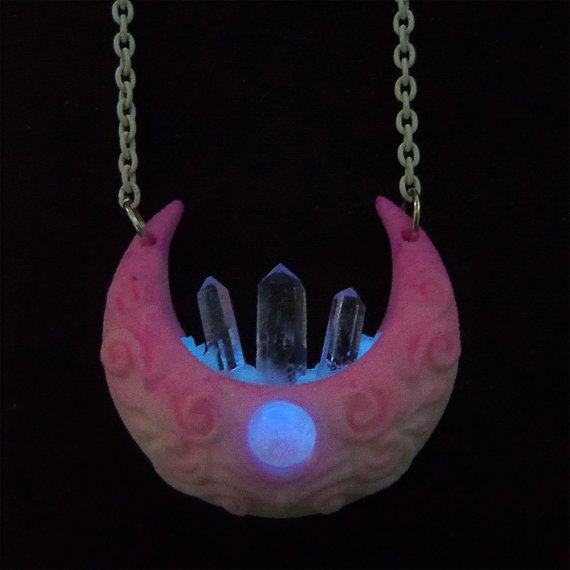 Neon Dream Crescent Moon Glow In The Dark Necklace By Esanany Moon Glow Glow In The Dark Neon