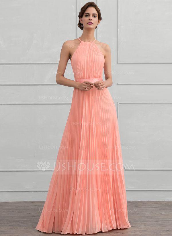 3f37761a0c Corte A Princesa Escote redondo Hasta el suelo Gasa Vestido de noche con  Lazo(