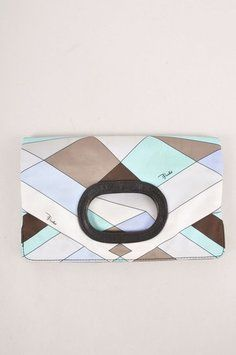 Emilio Pucci Pucci Pucci Aqua/taupe/white Clutch $186