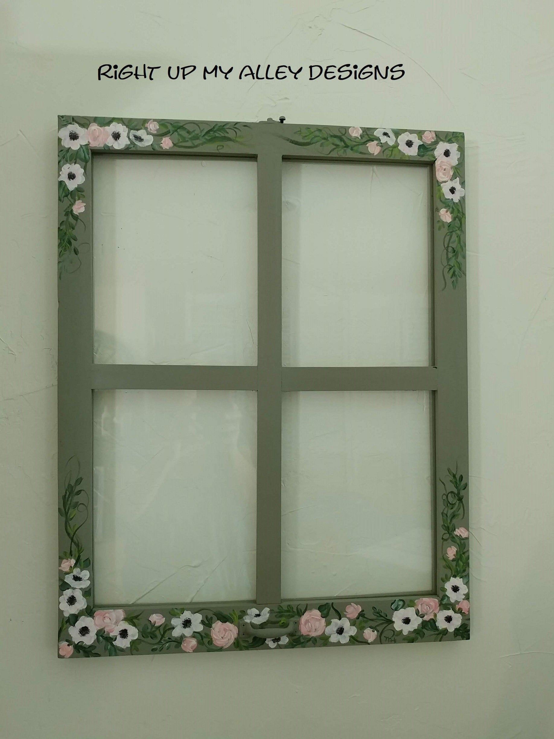 Painted Window Window Pane Art Floral Painted Window Peach And Green Window Decor Window Wall Art Nursery Idea 4 Pane Window Window Painting Window Pane Art Window Decor
