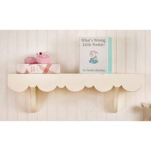 New Arrivals Scalloped Cottage Wall Shelf. HOw cute with the scallops