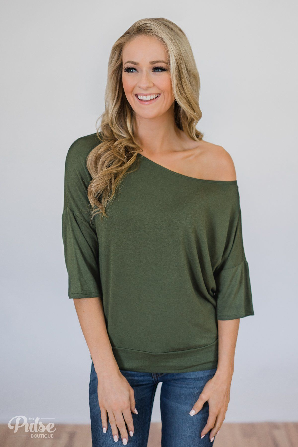 523b8e6a675a Mark My Words One Shoulder Top- Hunter Green   Fashion in 2019   One ...