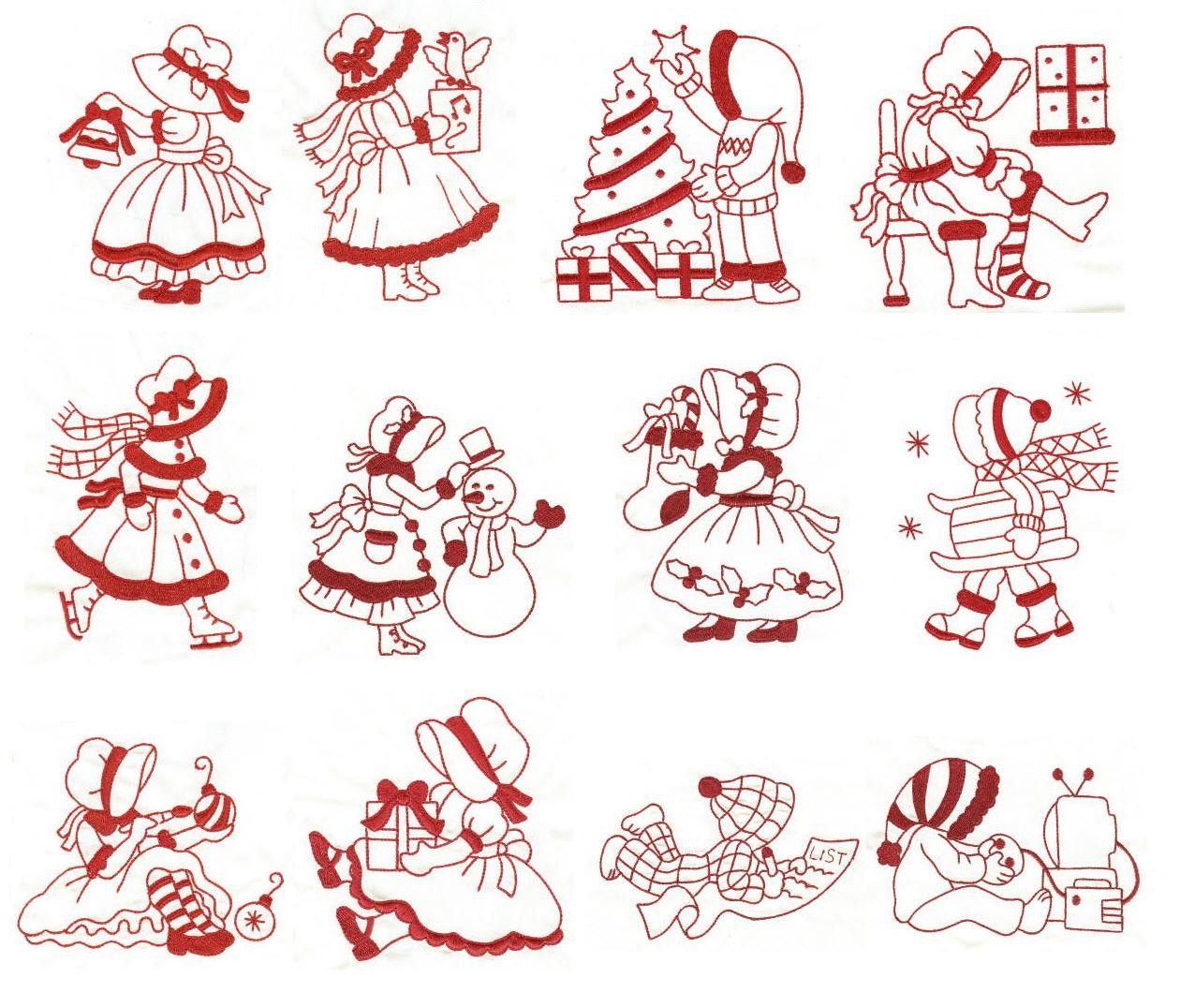 Sunbonnet Christmas Redwork Machine Embroidery Designs | Designs by ...