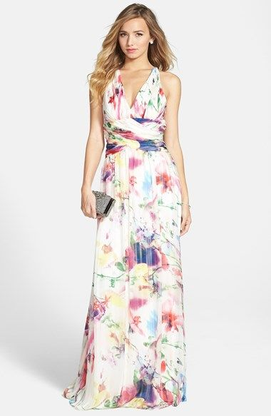 Free shipping and returns on Hailey by Adrianna Papell Twist Back Print Chiffon Gown at Nordstrom.com. Lovely watercolor blooms are printed on the airy chiffon of a Grecian-inspired gown styled with a V-neckline, an elegantly ruched waist and wide straps that twist over the head-turning open back.