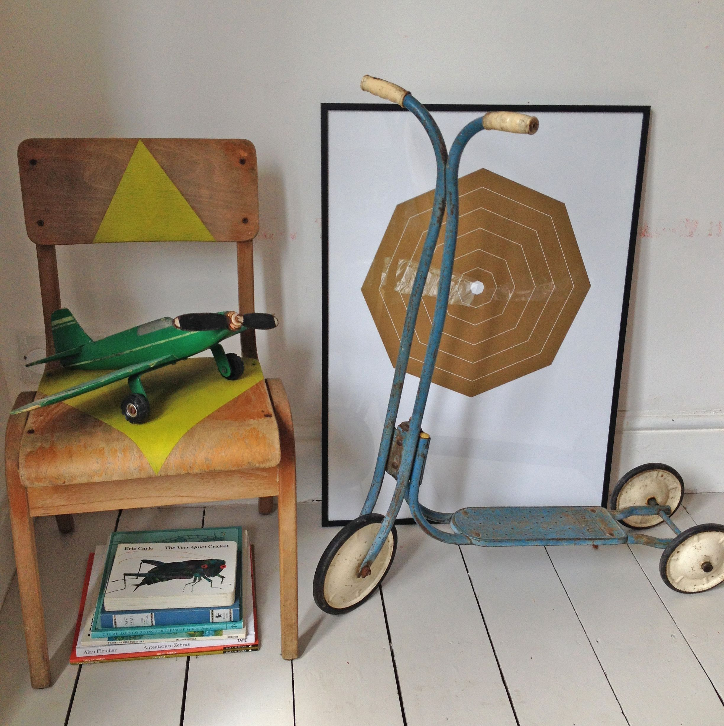 Vintage child's Triang scooter, antique blue.  Lovely item, perfectly rusted finish but still works fine! Height to handles 76cm.  £35.00.  www.anartfullife.co.uk