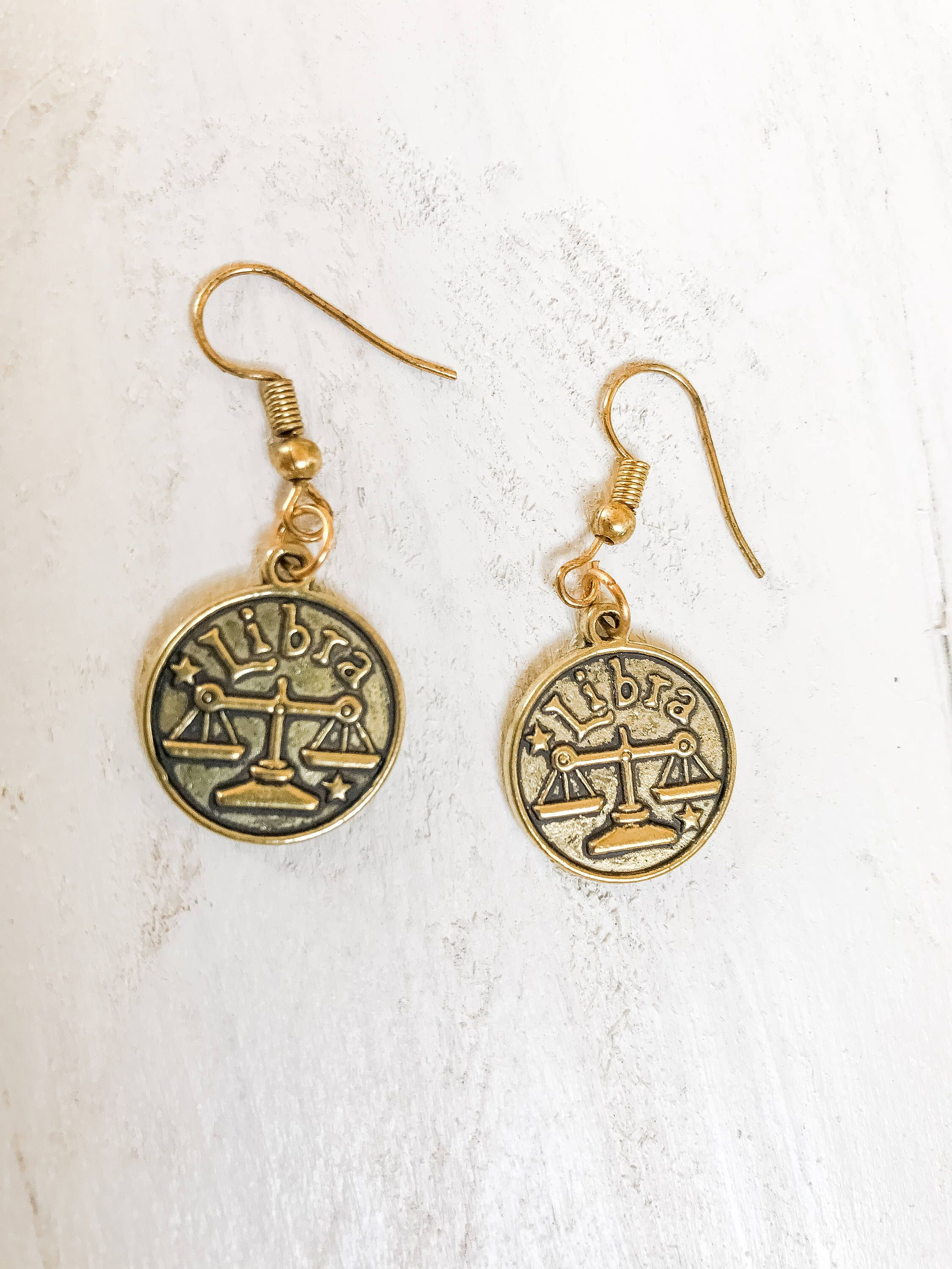 Libra reversible zodiac charm earrings zodiac sign earring zodiac