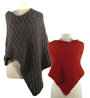 Ponchos are hot again! This easy wrap poncho is one rectangular piece, knit in garter stitch or an easy rib pattern and uses only one seam. Pattern is written for superbulky OR chunky weight yarn.