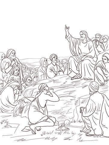 Jesus Sermon On The Mount Coloring Page From Misc Select 26073 Printable Crafts Of Cartoons Nature Animals Bible And Many More
