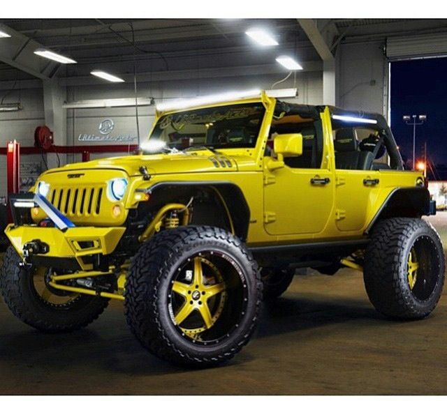 Modified Lime Color Jeep Jk With Custom Bumber Rims Tires Led