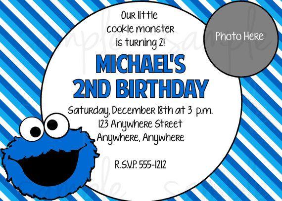 Cookie monster birthday invitation monster birthday invitations cookie monster birthday invitation voltagebd Images