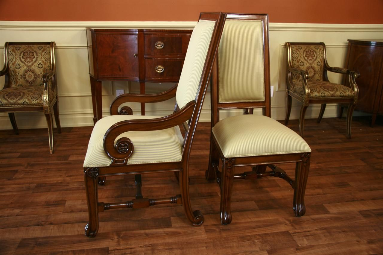 Diy Mahogany Upholstered Dining Room Chairs Above Laminate Wood Floor Use Varnished Legs Of Advantages