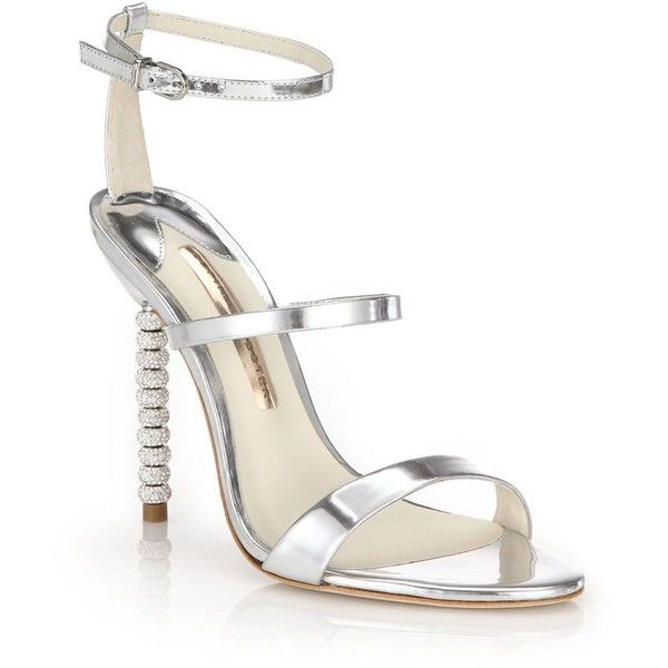 Sophia Webster Rosalind Crystal-Heel Metallic Leather Sandals (€465) ❤ liked on Polyvore featuring shoes, sandals, heels, apparel & accessories, silver, ankle strap sandals, metallic leather sandals, metallic sandals, heeled sandals and leather strappy sandals