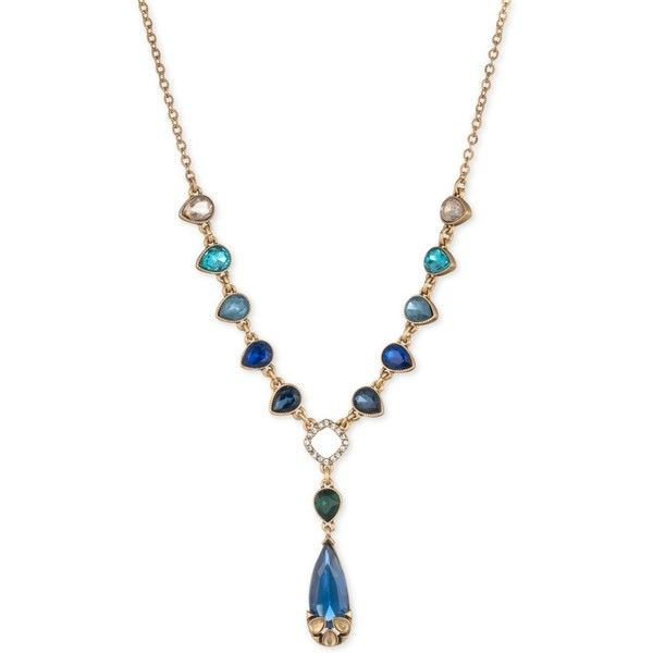 Carolee Gold-Tone Multi-Stone Teardrop & Pave Lariat Necklace ($85) ❤ liked on Polyvore featuring jewelry, necklaces, md multi, multi coloured necklace, multi color necklace, gold tone jewelry, multi colored necklace and tear drop necklace