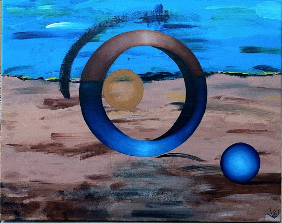 Earth's ring, original acrylic painting on canvas on Etsy, $64.00