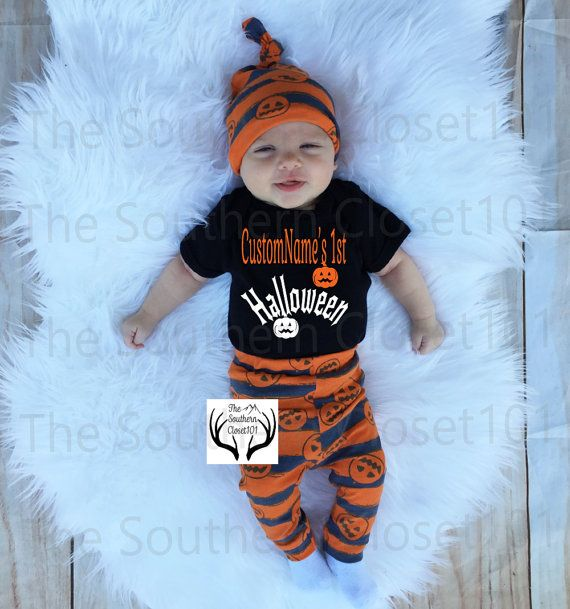 Baby Girl,Baby Boy Pumpkins,Baby Pumpkin Halloween Outfit,,Orange,Black,Gray Unisex Coming Home Outfit,Custom Names 1st Halloween