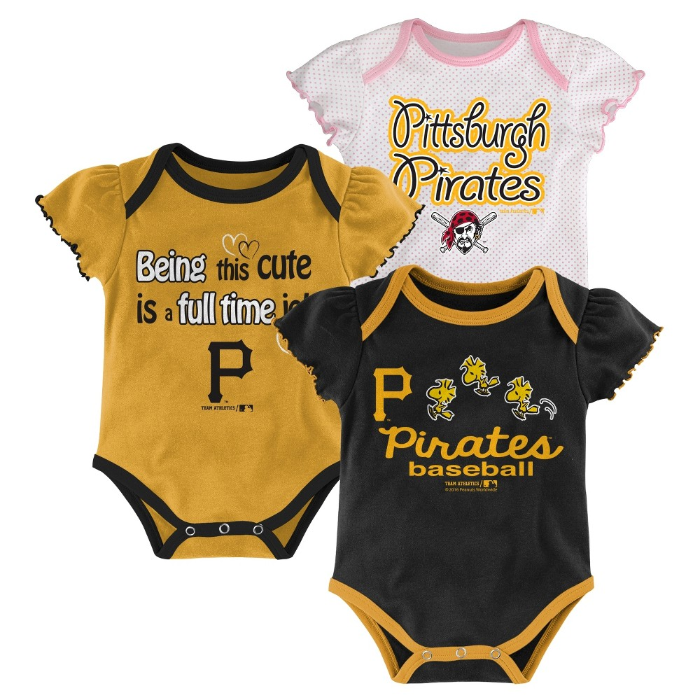 Pittsburgh Pirates Girls 3pk Bodysuit Crawlers 0-3 M, Kids Unisex, Blue
