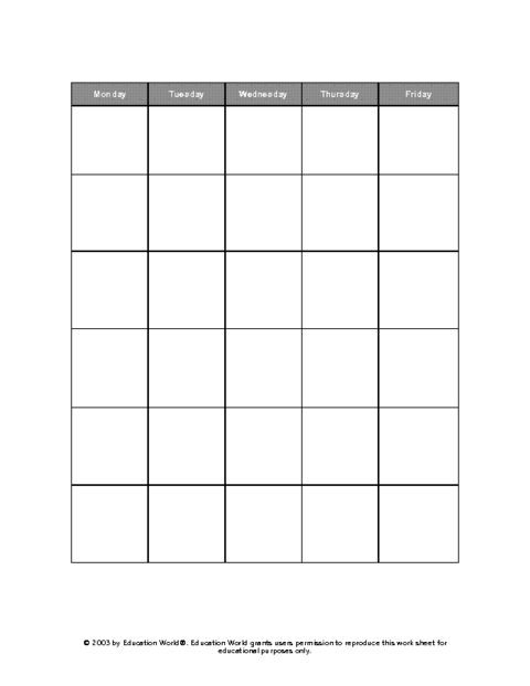 Education World Five Day Calendar Grid Template Weekly