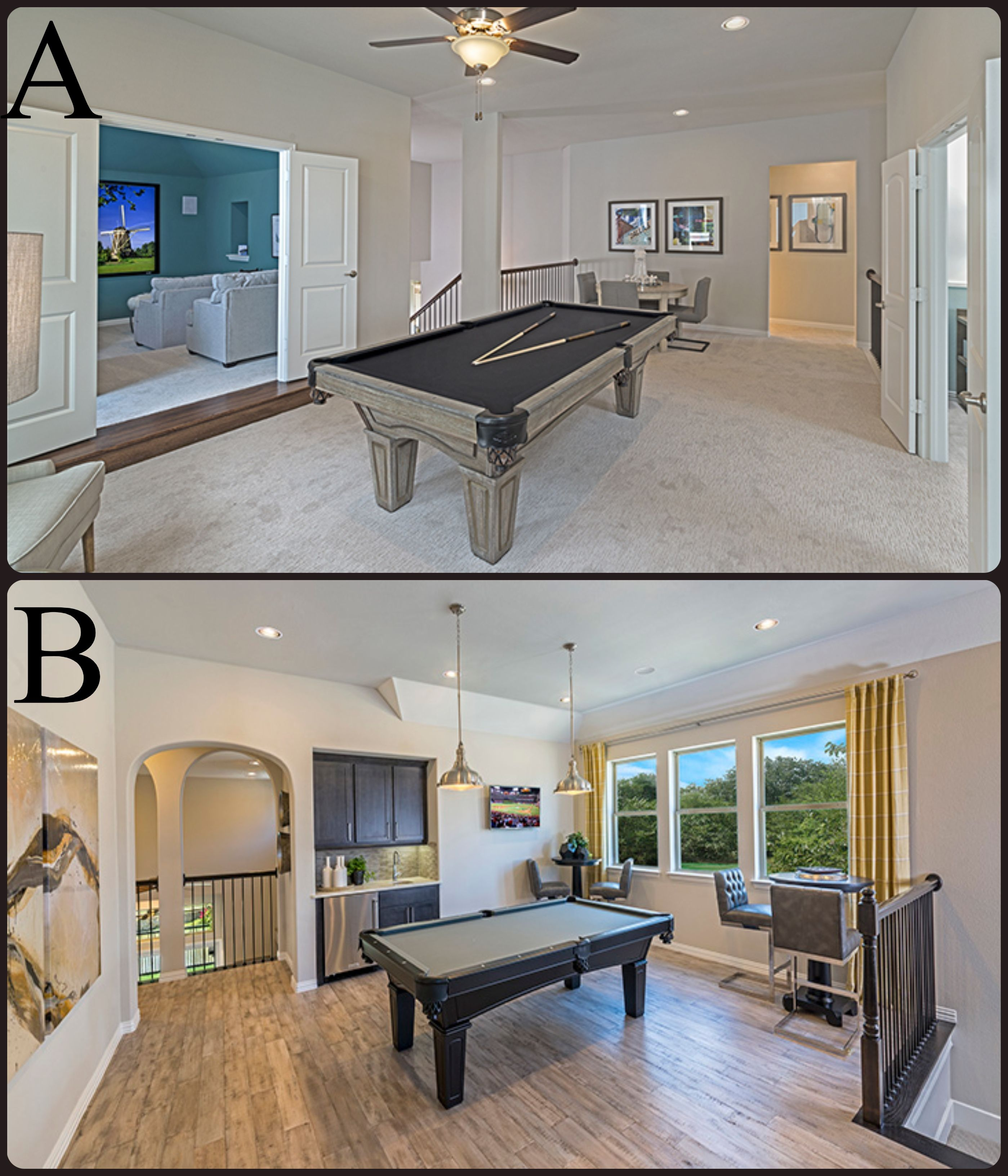 Which Game Room Would You Prefer More One With Carpet Or Wood Floors A Estates At Shaddock Heritage Plan B Creekside A In 2020 Home Mortgage New Homes Home Buying