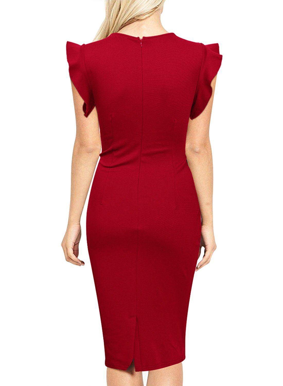 Amazon Com Miusol Women S Business Retro Ruffles Cap Sleeve Slim Cocktail Pencil Dress Clothing Bodycon Fashion Bodycon Dress Parties Vintage Short Dress [ 1500 x 1100 Pixel ]