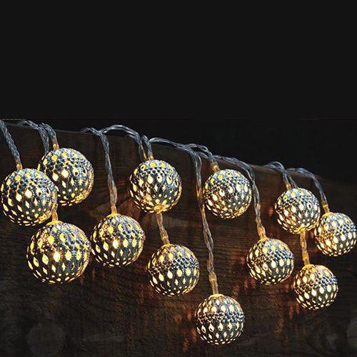 New! set of 10 solar led lights - moroccan globe lanterns -indoor ...