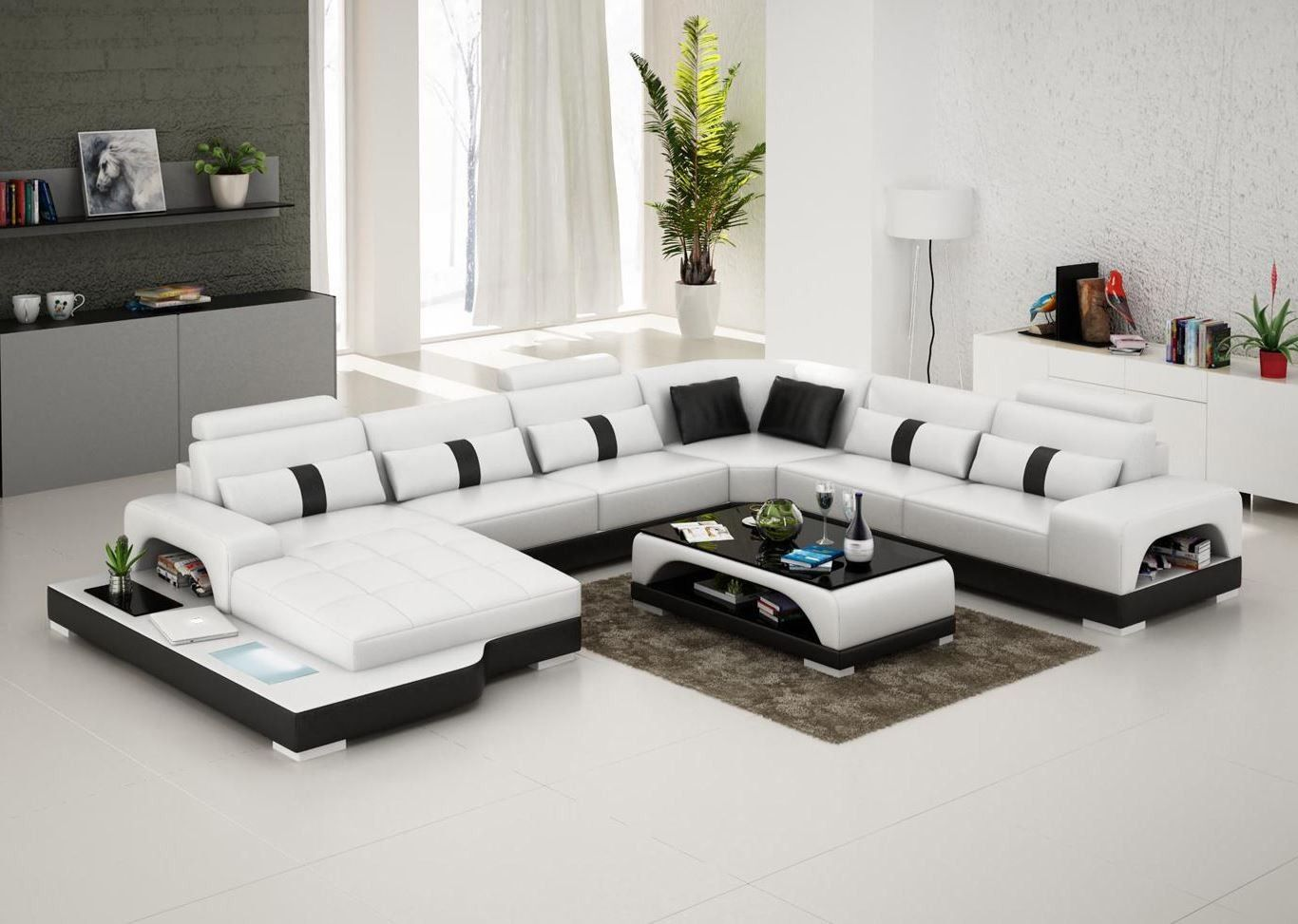 Lovely Connie Sectional Sofa   Leather Living Room Furniture   Fancy Furniture    Leather Sectional Sofa   From Opulent Items