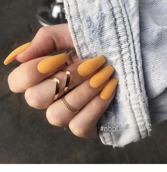 Photo of Cute orange nails and gold rings –  #cute #Gold #nails #orange #rings