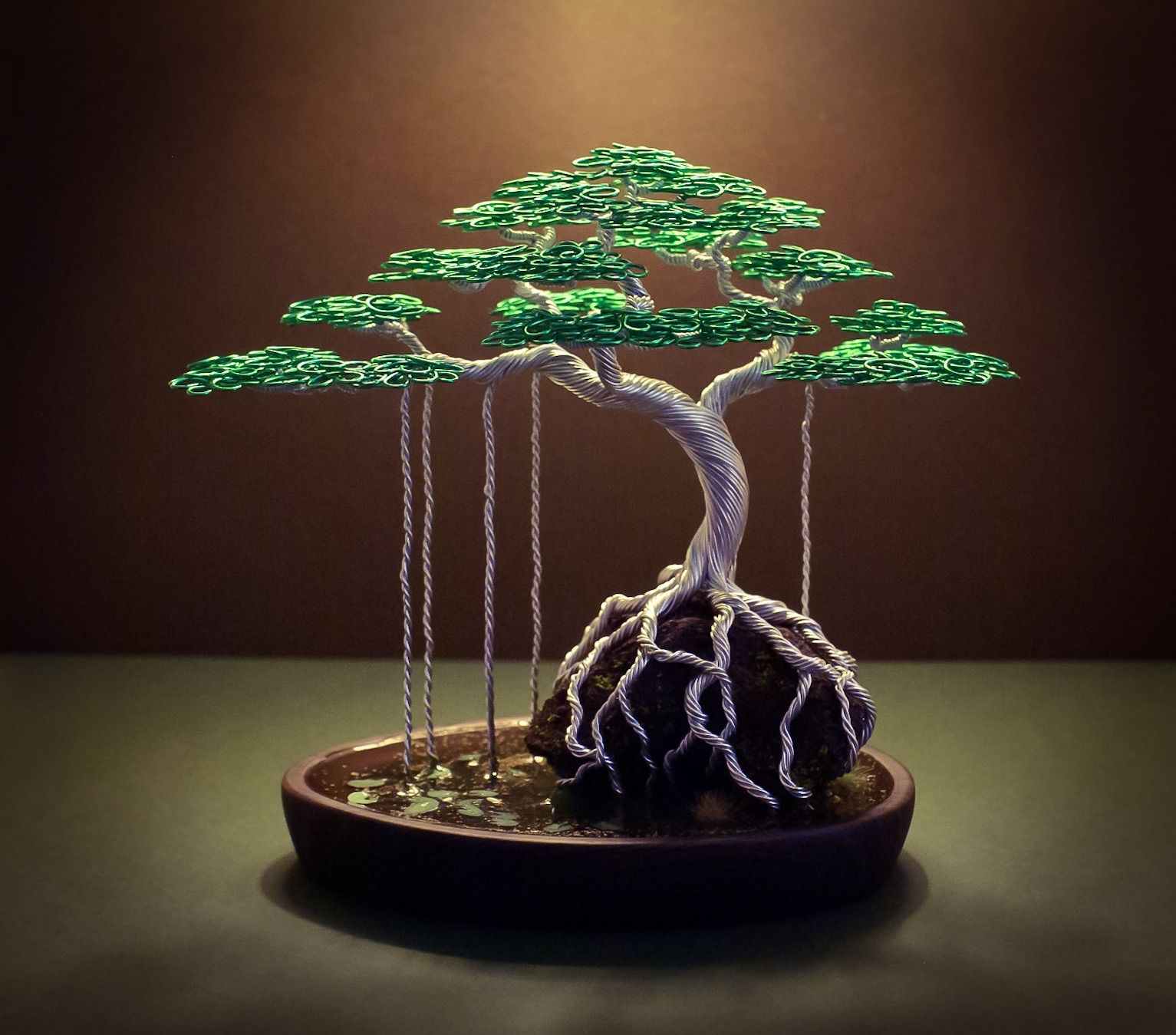 Wire Bonsai Wiring In Made Steve Bowen A Ficus Tree Imitation Water Scene 1533x1349