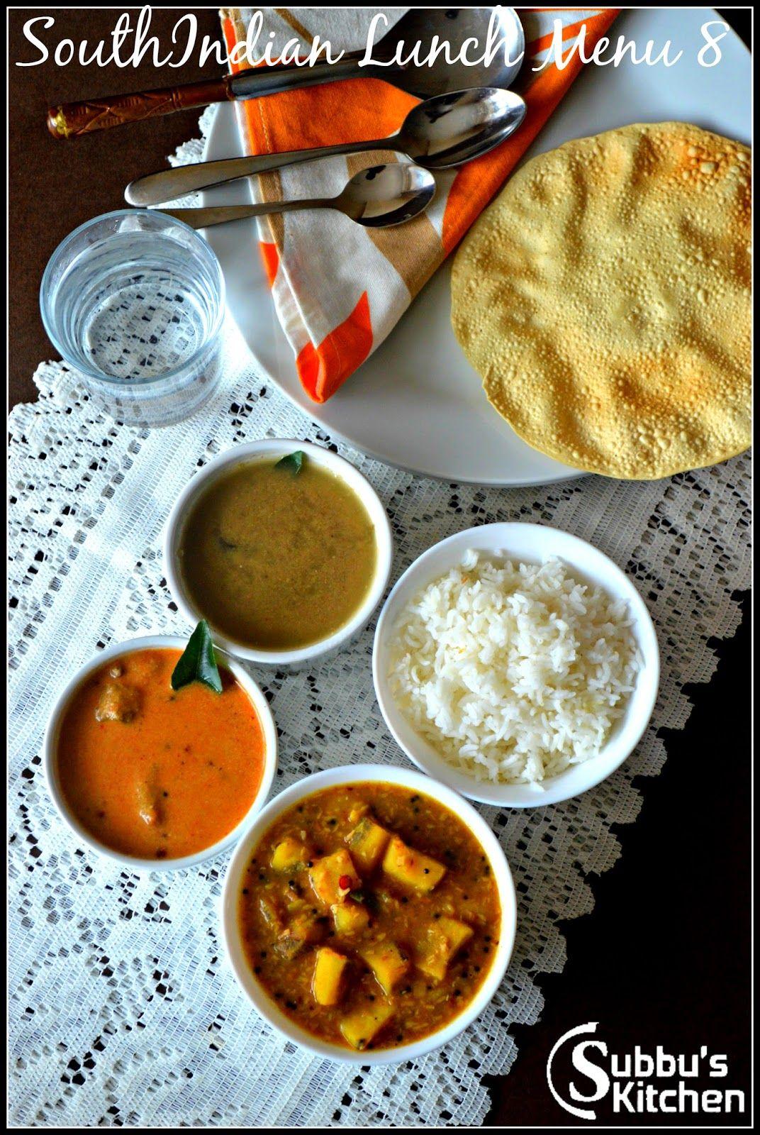 South Indian Lunch Menu 8 Thengai Araitha Kuzhambu Vazhakaai Puliyita Kootu Poondu Rasam And Pappad Lunch Menu Indian Veg Recipes Indian Food Recipes