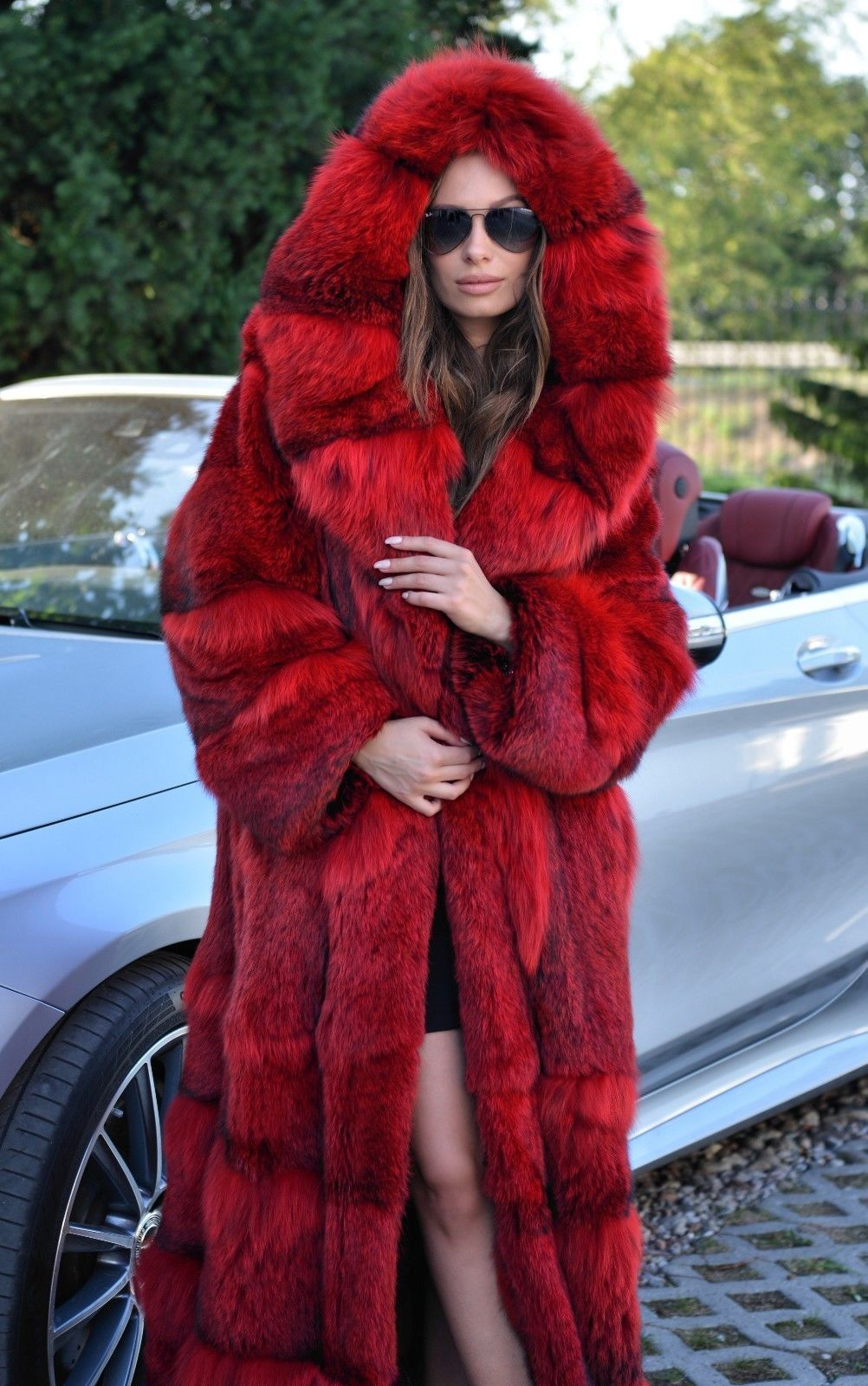 d3dd6355891 Female Red Long Hood Fur Coat in 2019 | Stylicious | Fur, Pink fur ...