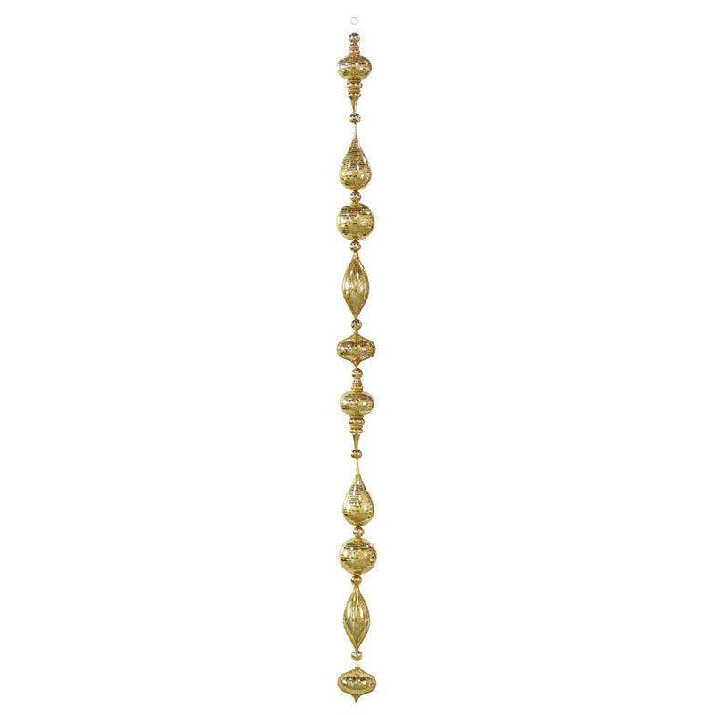 Vickerman M124616 6' Ant Gold Shiny Glitter Ornament Drop