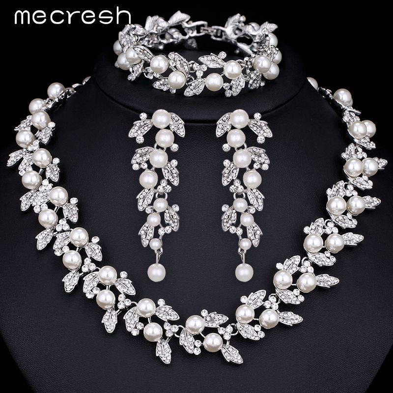 Mecresh Gesimuleerde Parel Bruids Sieraden Sets Zilver/Goud-Kleur Ketting Set Bruiloft Sieraden Parure Bijoux Femme TL283 + SL089