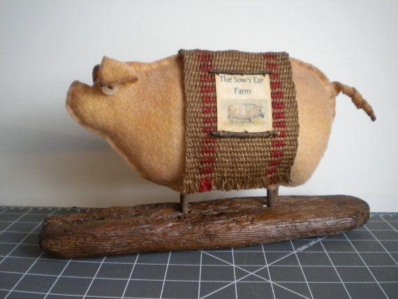 @Mallory Jarrell  For your mom!!  PIG  Primitive  Folk Art  Soft Sculpture  by BlueRidgeMercantile, $37.00