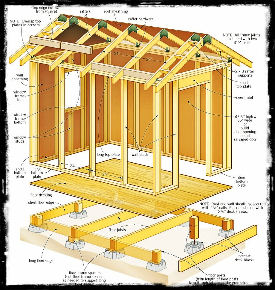 Shed plans 8 x 8 wooden project tools handy man for Wood storage building plans