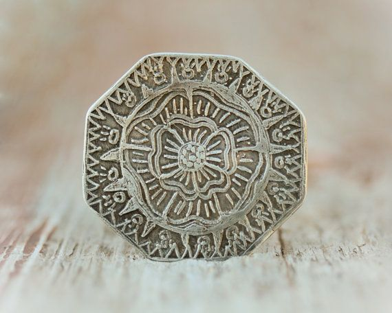 Tribal Statement BOLD Octagon Ring - Hand Textured Oxidized and Etched German Silver Ring - Roots Jewelry - Boho - Beachcomber Collection