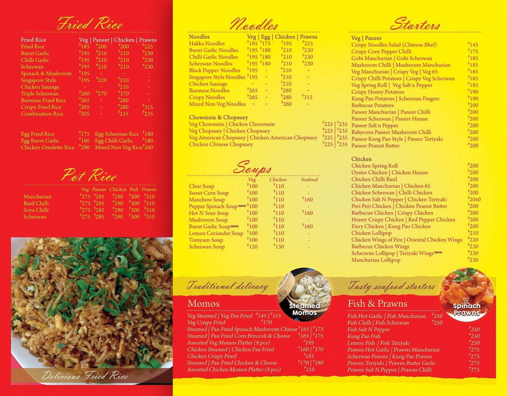 Modern China Kitchen Dombivli Menu Menu Cards Menu Card Template China Kitchen
