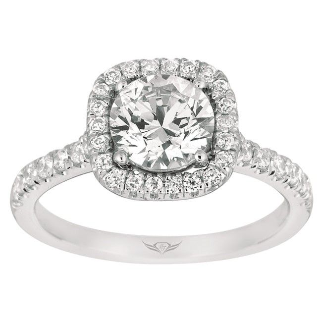 Square halo ring with a round brilliant cut diamond center weddingring this